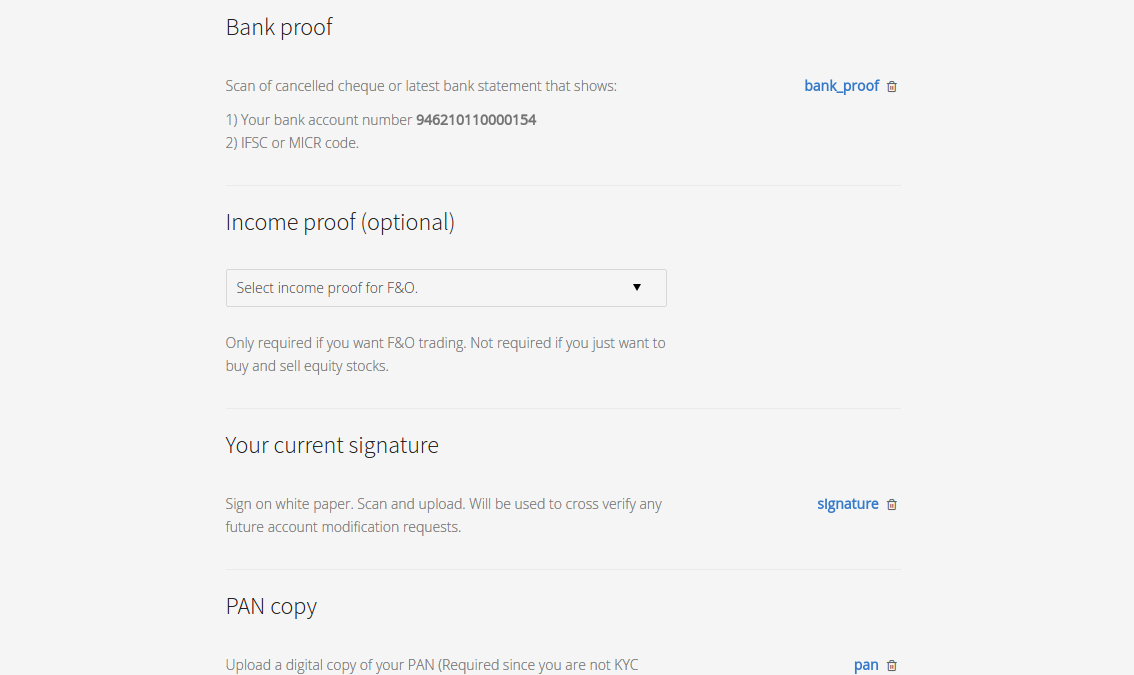 Account opening process z connect by zerodha z connect by zerodha step 11 upload your bank documents income proof if you wish to trade in derivatives spiritdancerdesigns Images